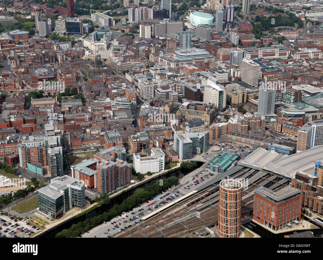 aerial view of Leeds City Centre - Stock Image