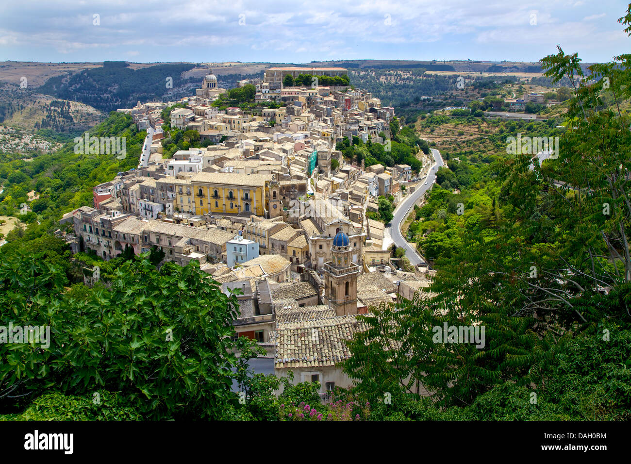 View of the baroque town of Ragusa Ibla, Sicily, Sicilia, Italy, Italia - Stock Image