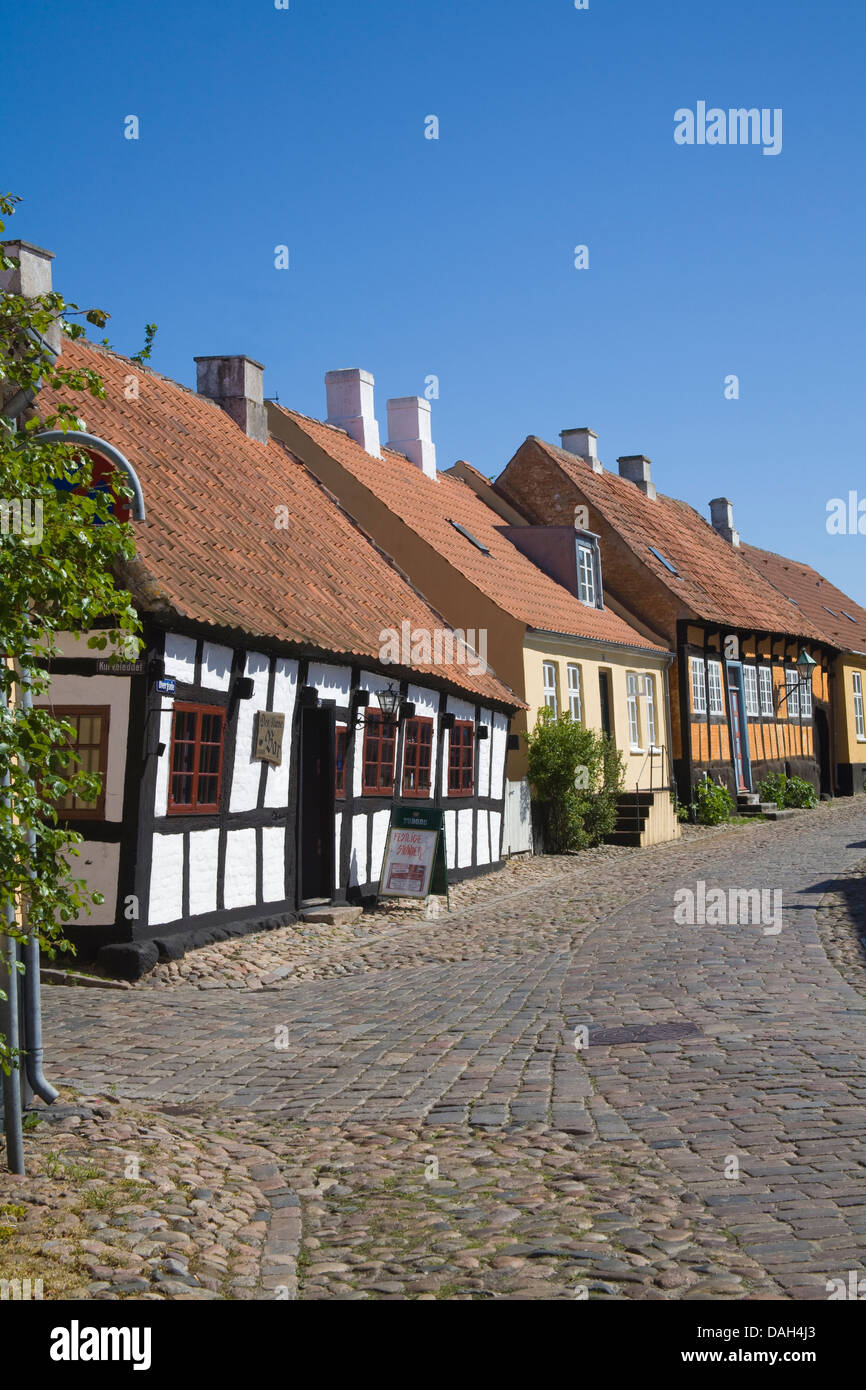 Ebeltoft Denmark EU View down Overgade with Den Skæve bar housed in one of town's old building Denmarks - Stock Image