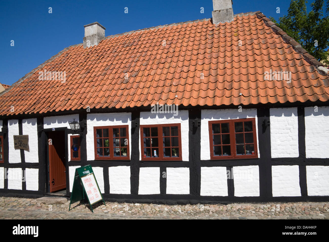 Ebeltoft Denmark EU Den Skæve bar housed in one of town's old building in Overgade Denmarks best kept old - Stock Image