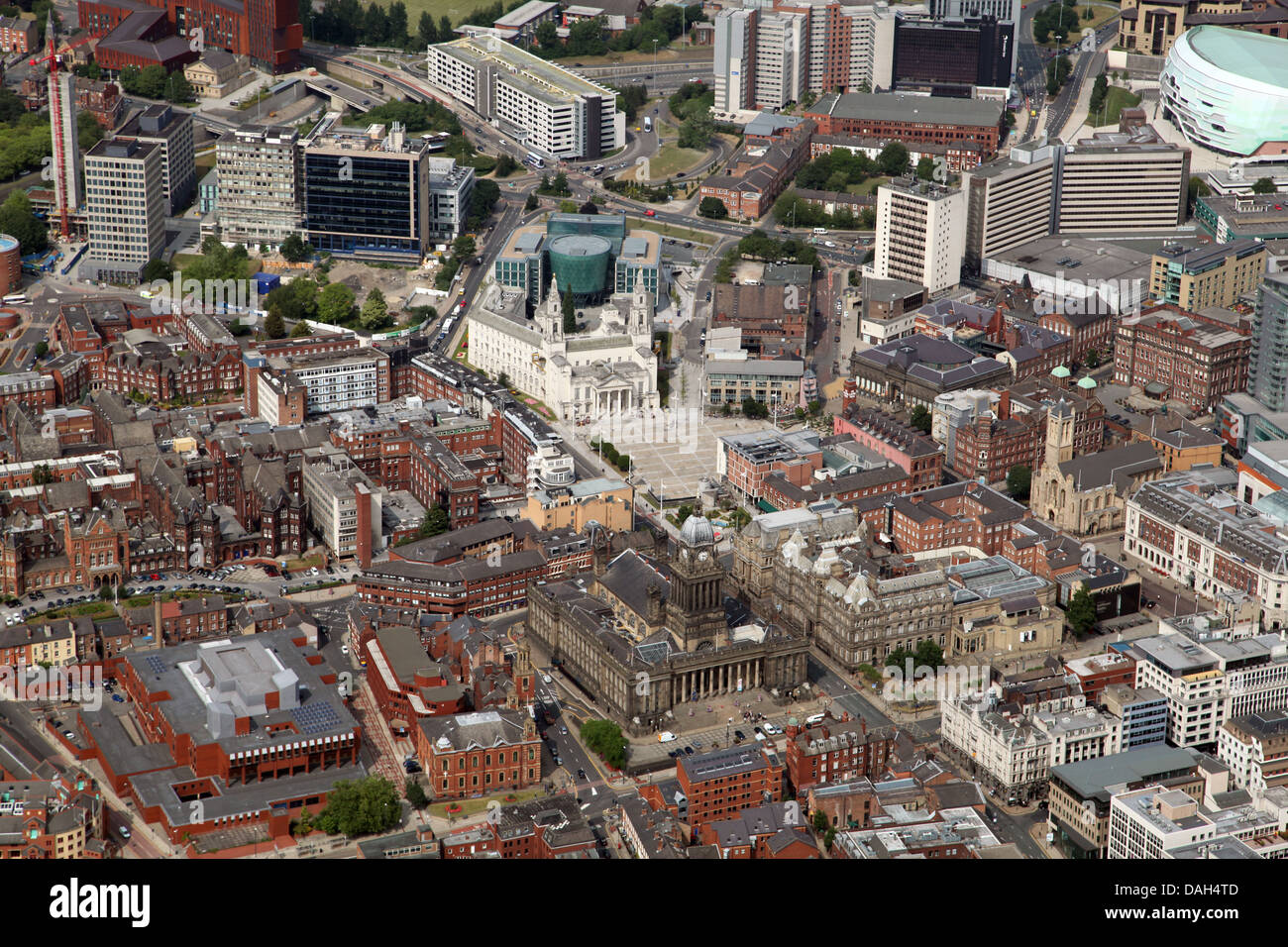 aerial view of Leeds City centre looking north across the Headrow towards the Town Hall and Civic Quarter - Stock Image