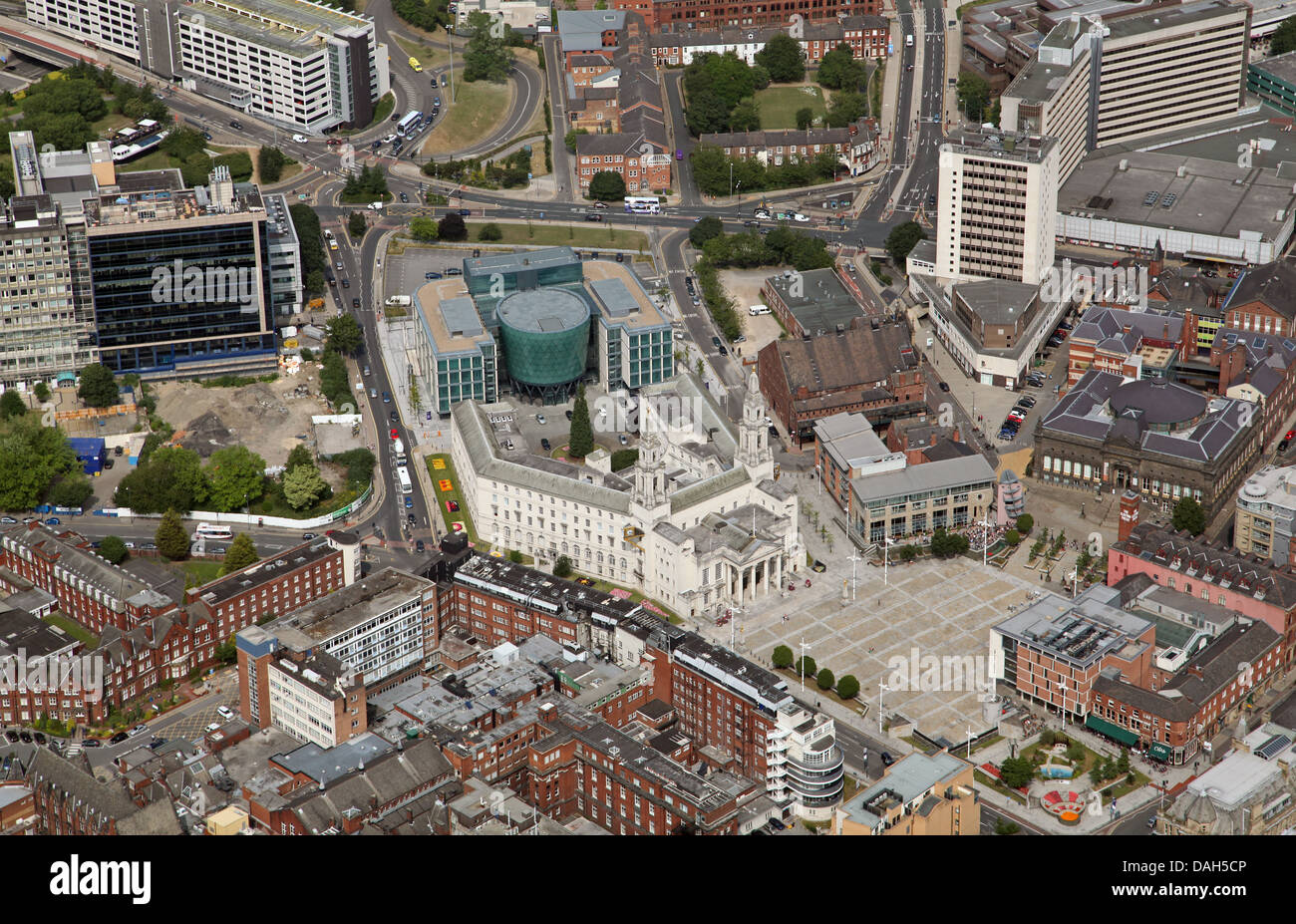 aerial view of Leeds Civic Quarter in the City Centre - Stock Image
