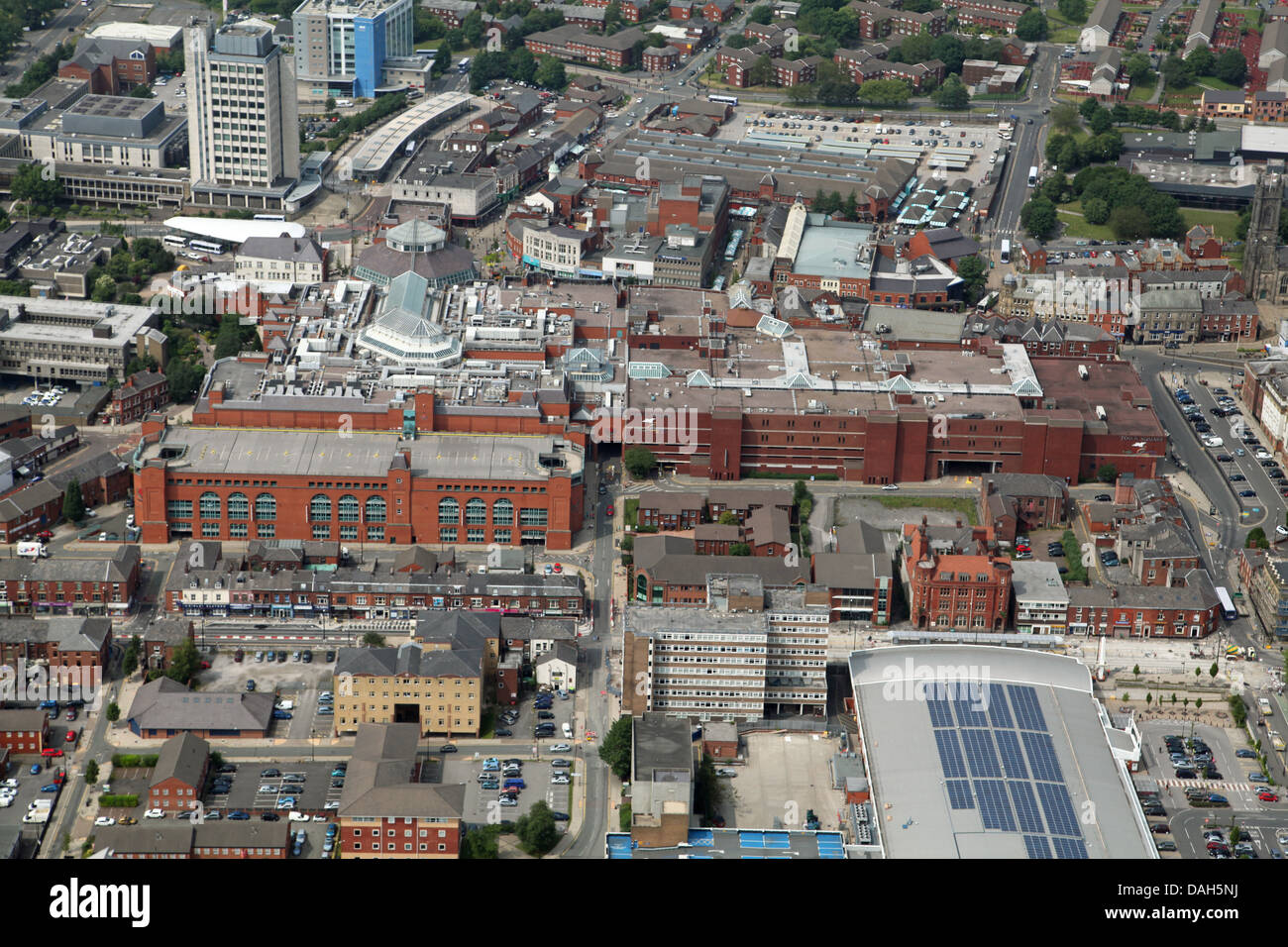aerial view of Oldham town centre Stock Photo