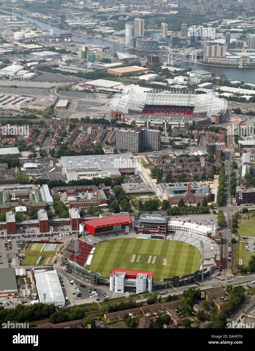 aerial view of Old Trafford cricket ground home of Lancashire CCC & Old Trafford football Stadium, Manchester - Stock Image