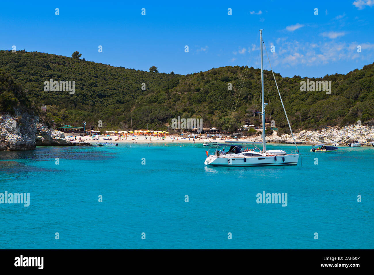 Voutoumi bay at Antipaxos island in Greece. Ionian sea - Stock Image