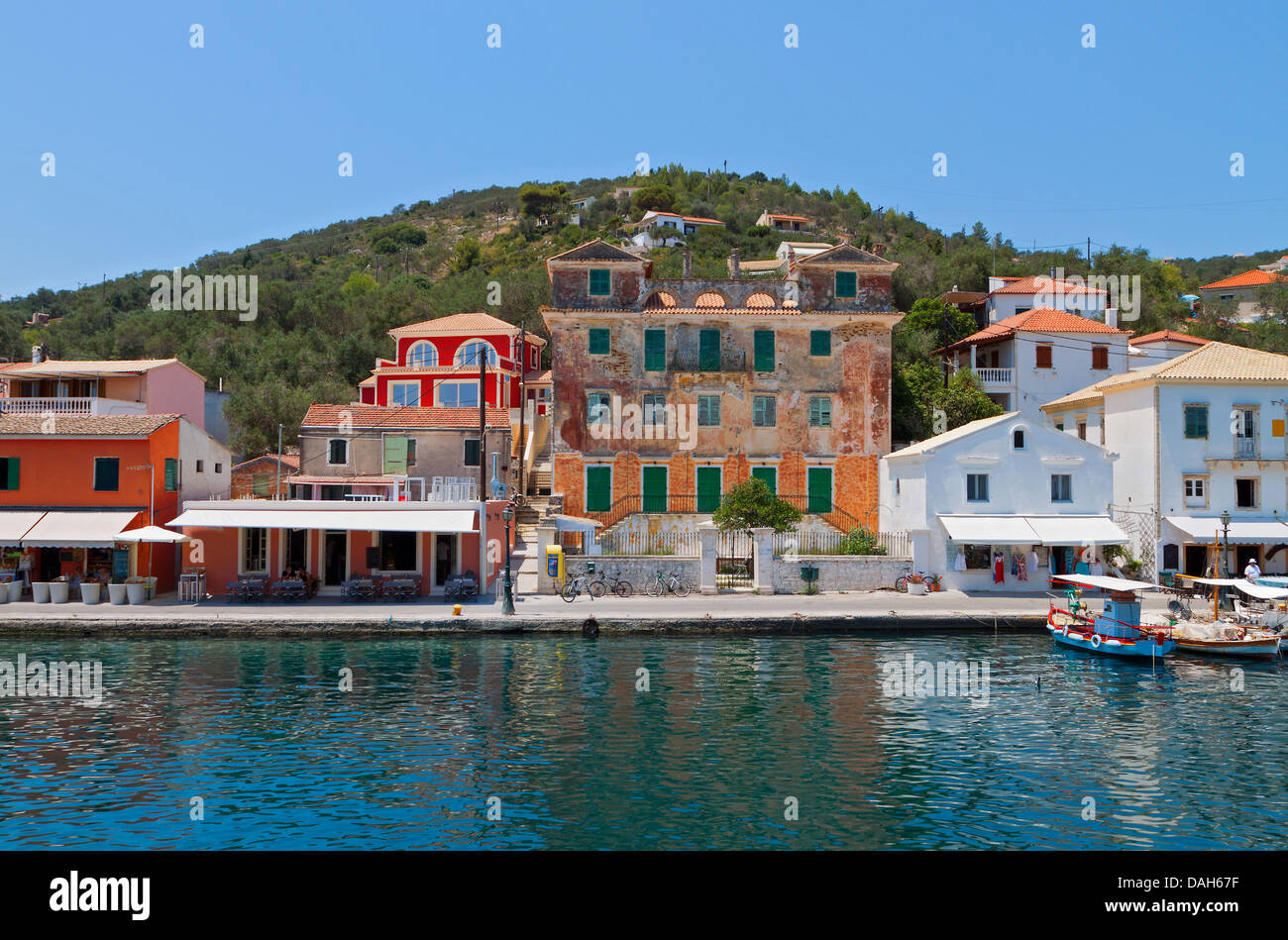 Gaios port at Paxos island in Greece. Ionian sea - Stock Image