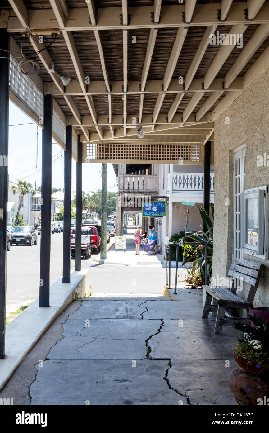 View of corner, 2nd and B streets, from covered sidewalk in front of historic Island Hotel and Restaurant in Cedar - Stock Image