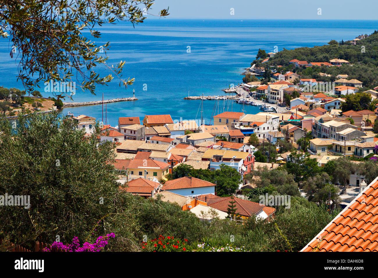 Gaios port at Paxos island in Greece. Ionian sea - Stock Image