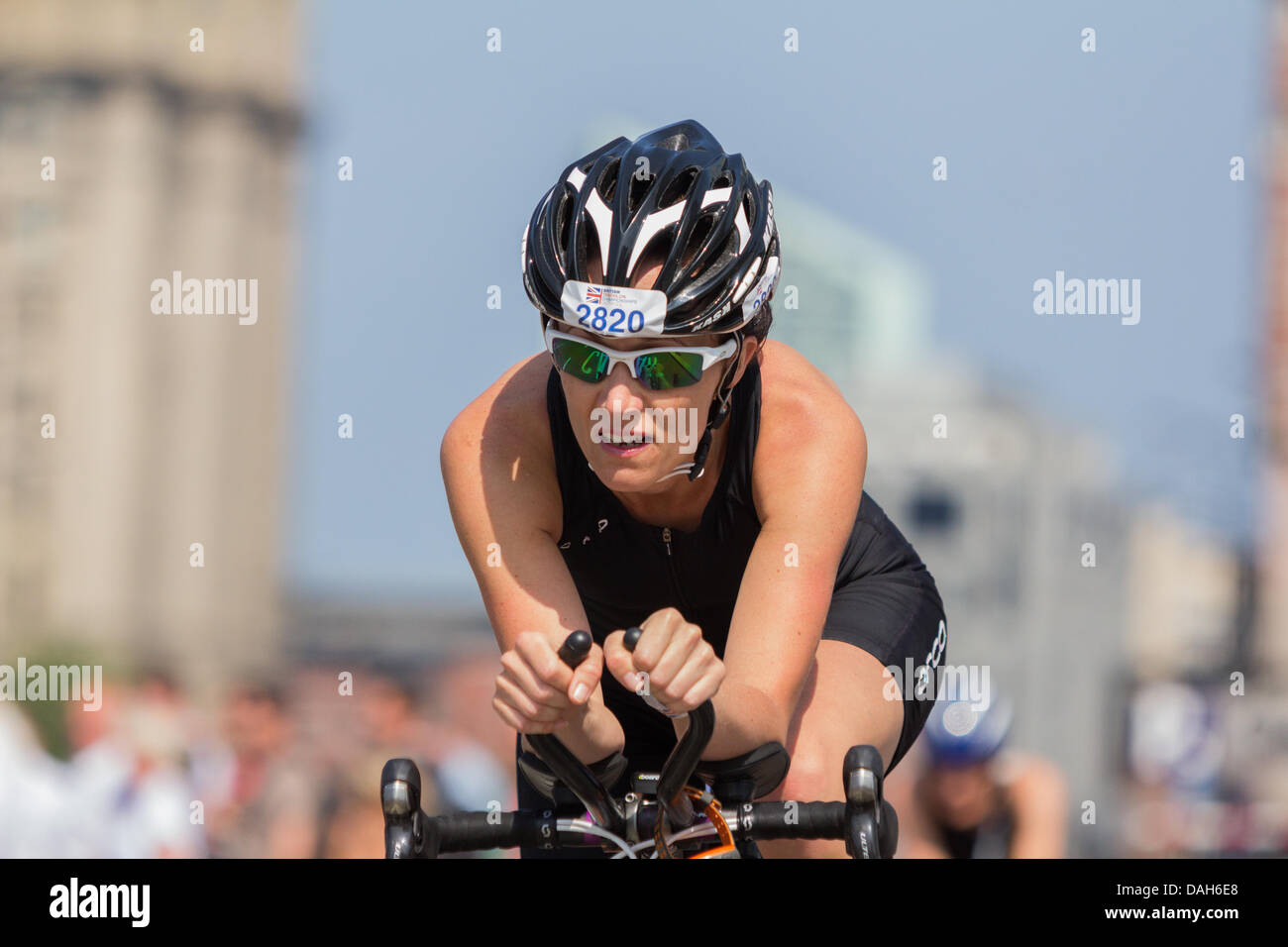Liverpool, UK. 13th July 2013. Athletes take part in the Age-Group Standard Distance Triathlon Championships which - Stock Image