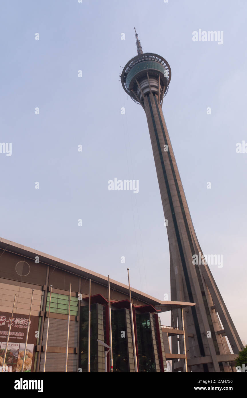 Macau tower in sunset moment - Stock Image