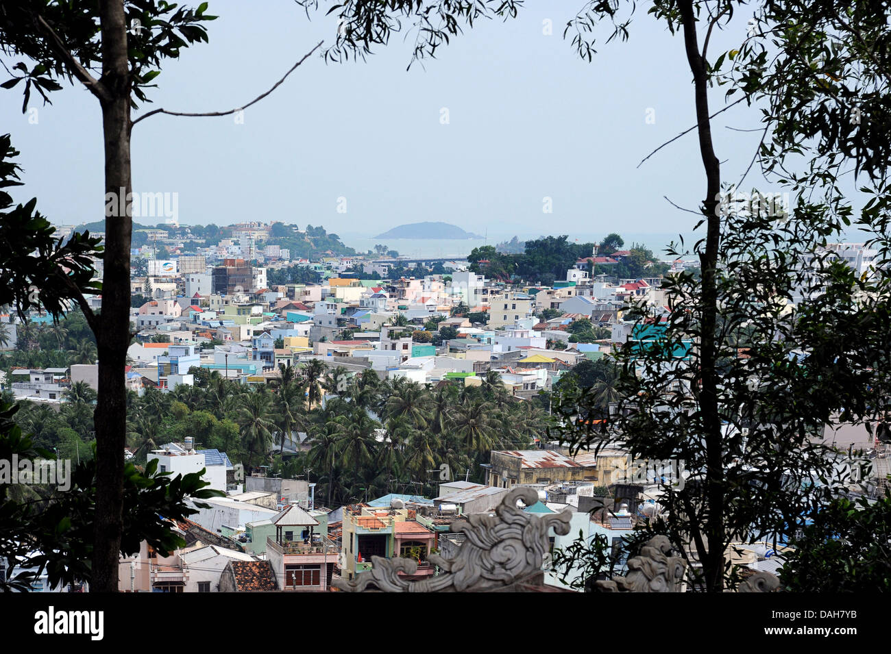 View across Nha Trang from Po Nagar Cham Towers, Kauthara, Vietnam. - Stock Image
