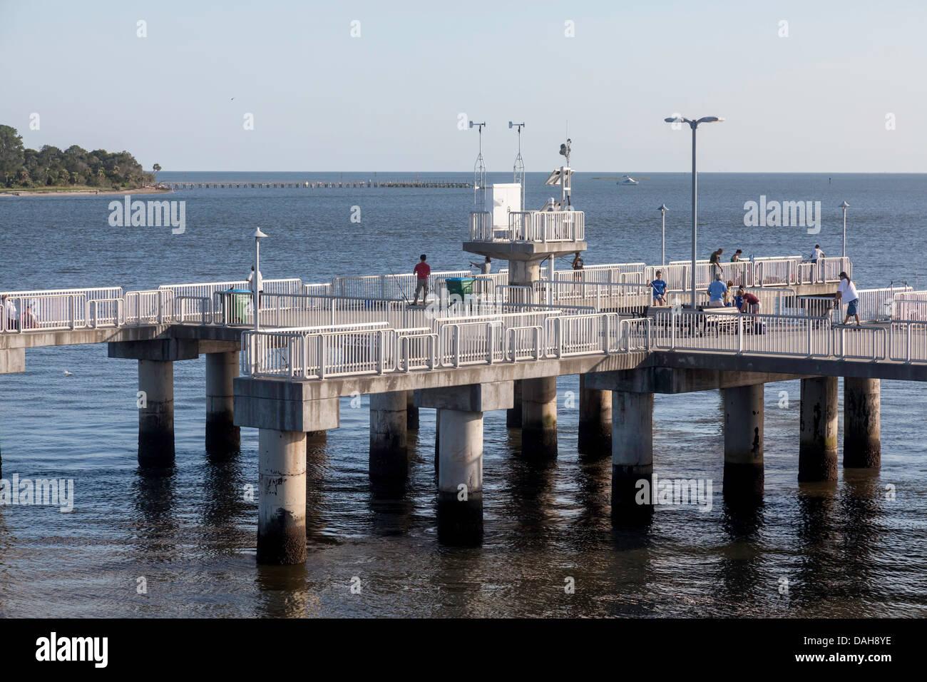Public Fishing Pier On Dock Street In Cedar Key Florida Along The