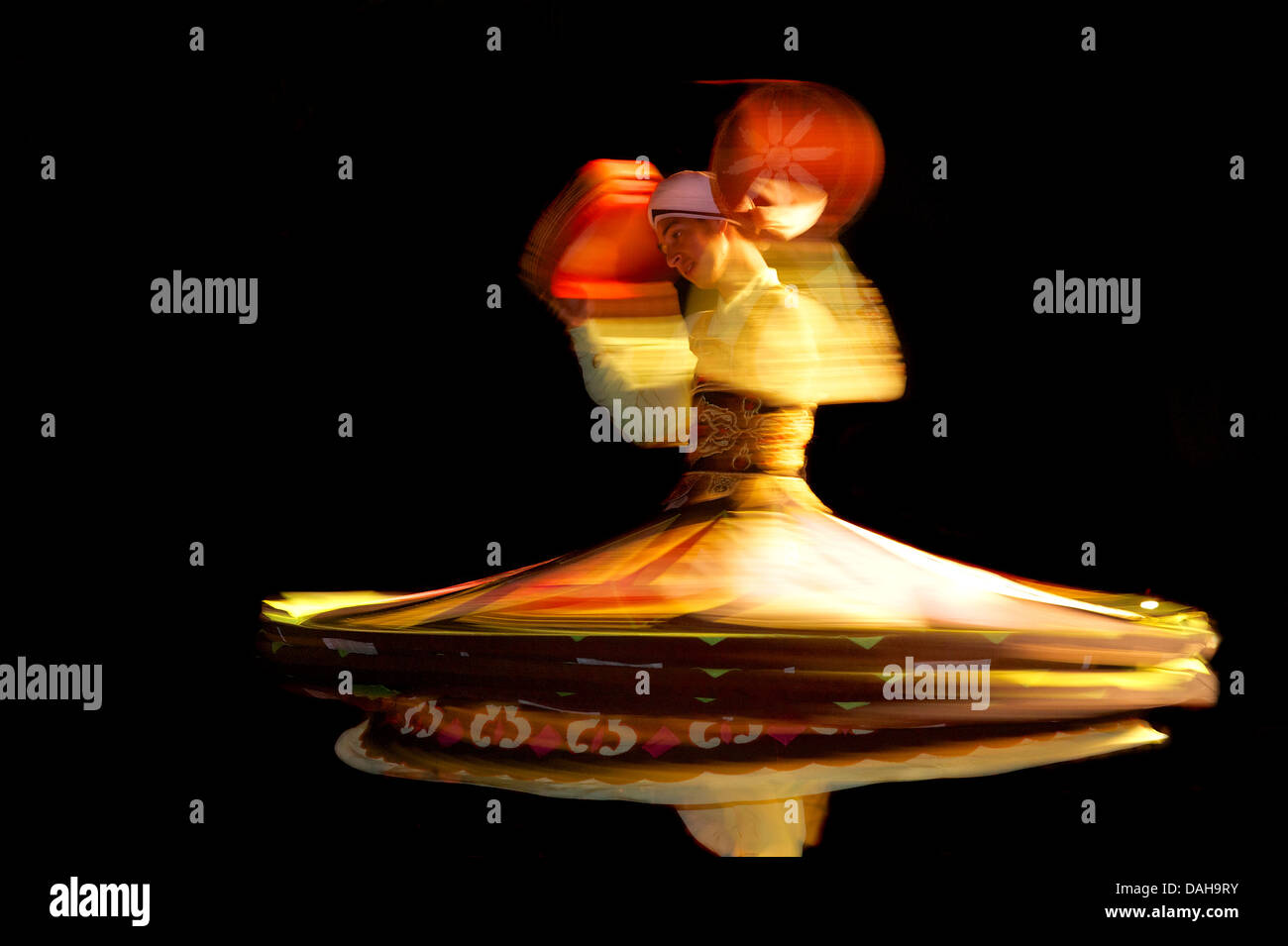 Whirling Egyptian dancer. Red Sea Coast Sinai Egypt - Stock Image