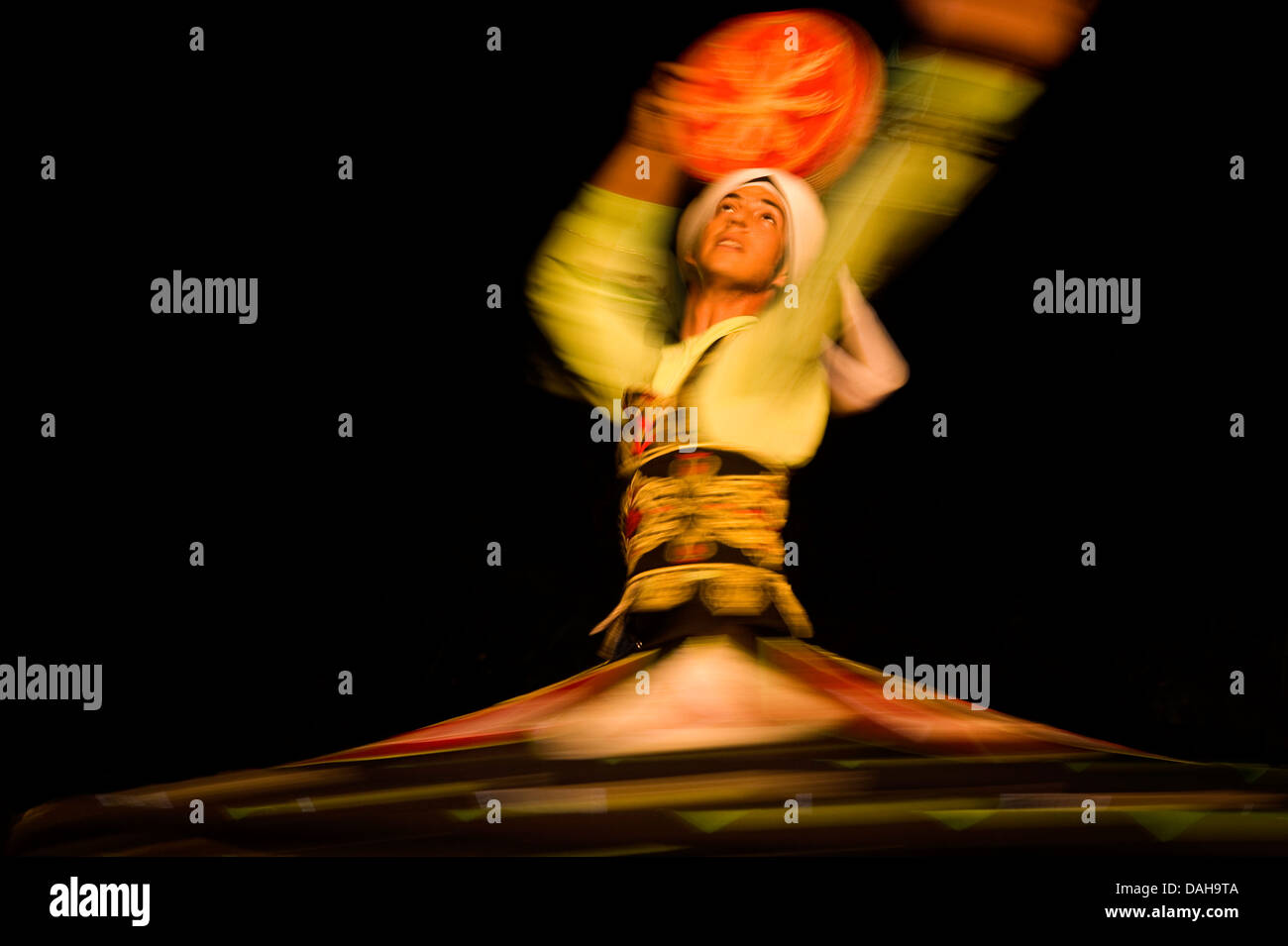 Whirling Egyptian dancer. Red Sea Coast Sinai Egypt Stock Photo