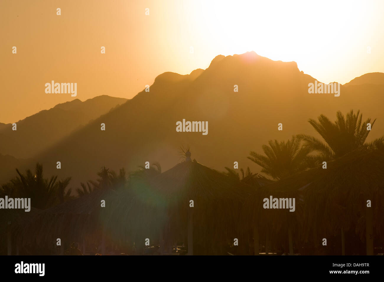 Sun and shadow spiling off the Sinai. Nuweiba, Egypt - Stock Image