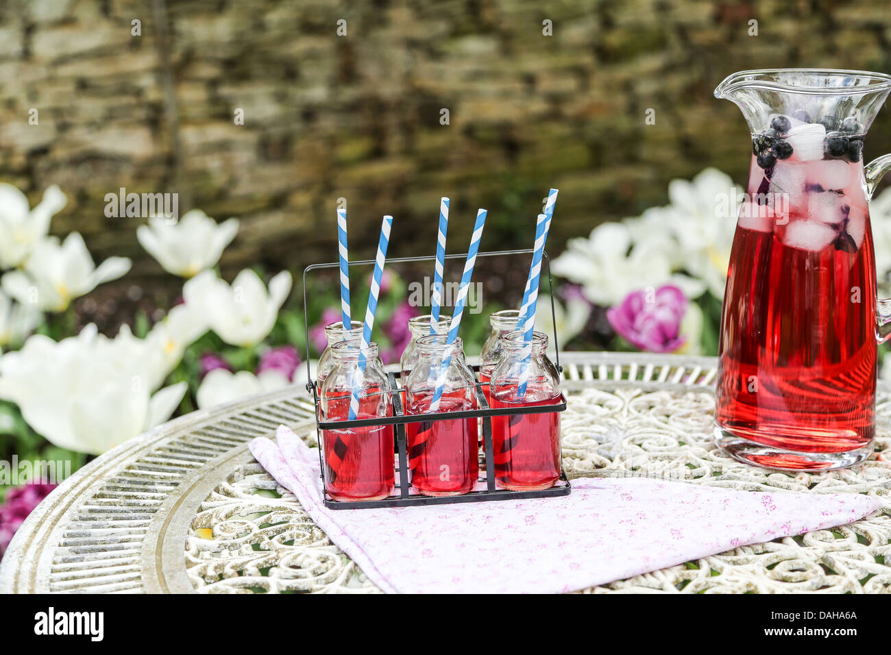 Summer drink of cold red fruit flavour juice served outside on an ornate table - shallow depth of field - Stock Image