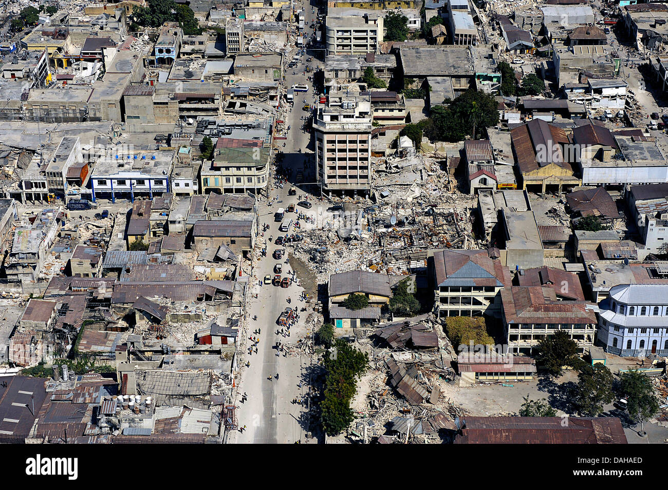 Aerial view of damaged buildings in the aftermath of a 7.0 magnitude earthquake killing 220,000 people January 22, - Stock Image