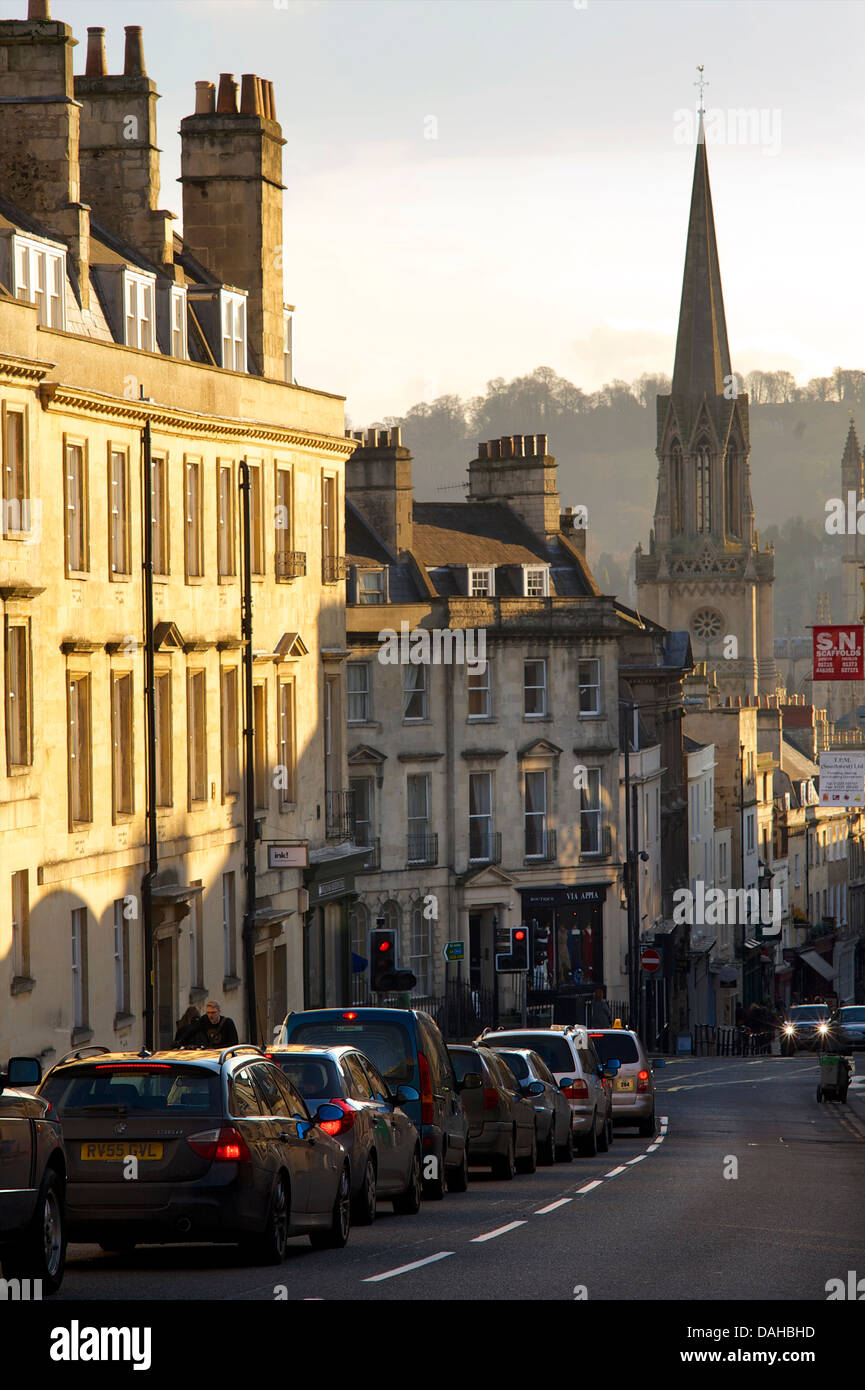 Congested street in the city of Bath, Somerset, England - Stock Image