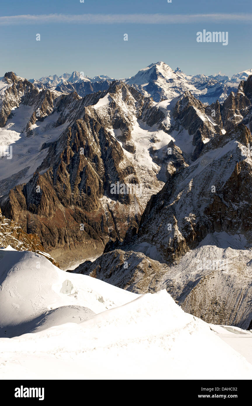 The Alps, France. Looking out from the viewpoint at the Aiguille du MidiLa VallŽe Blanche. Chamonix, The Alps, France Stock Photo