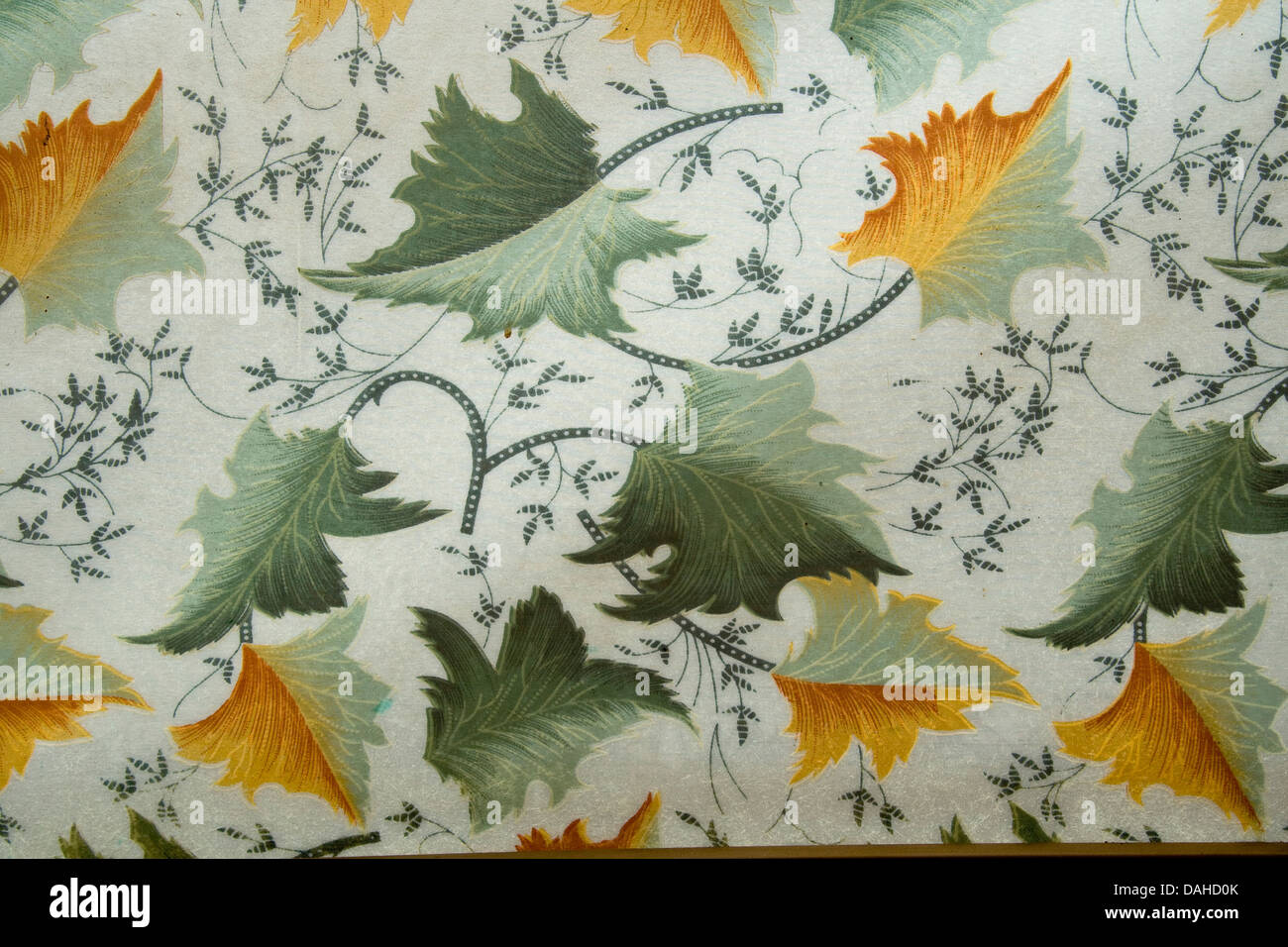 Leafy design on semi transparent Perspex sheet viewed against light - Stock Image