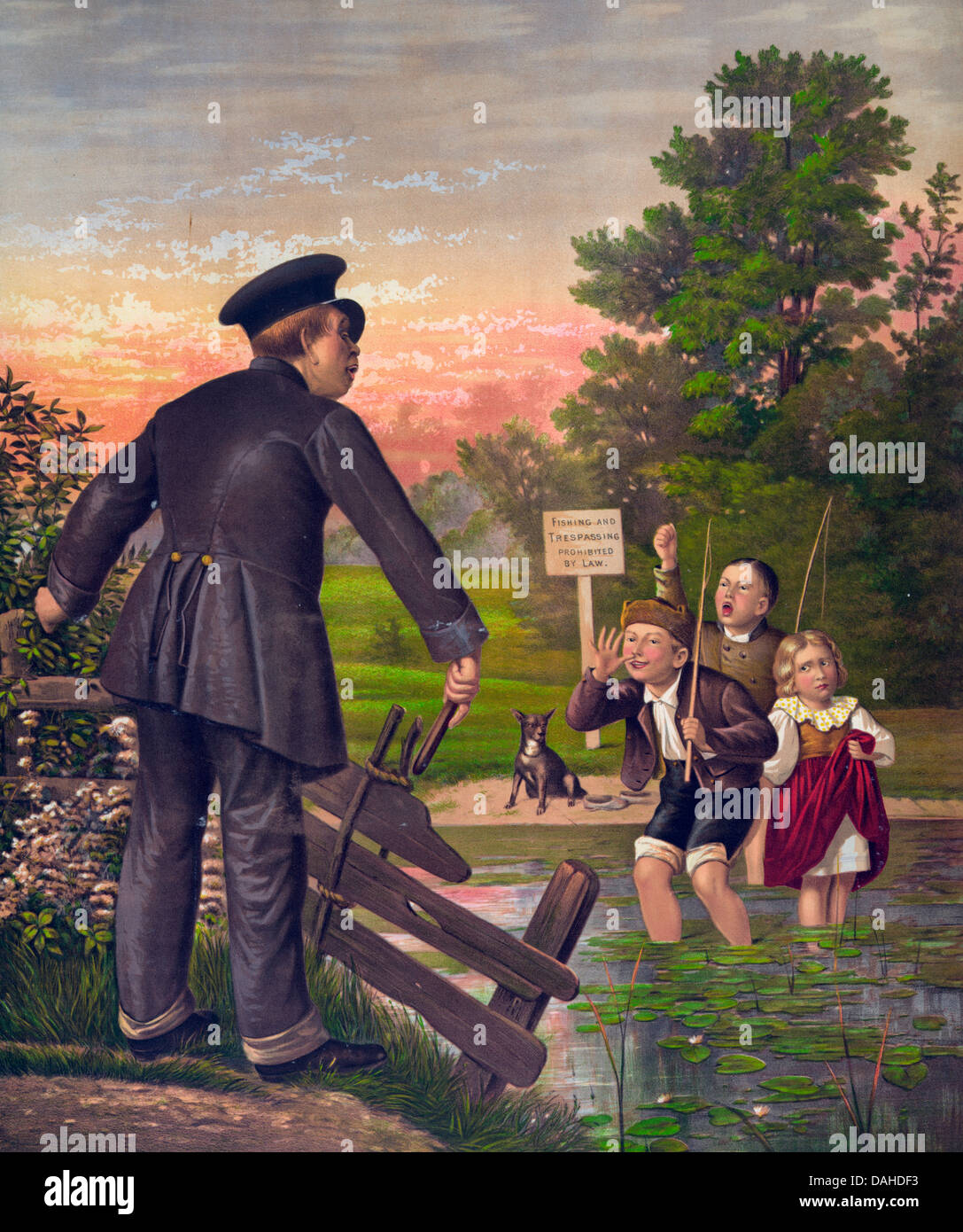 What are you going to do about it - Children in a restricted area taunt a security guard - Stock Image