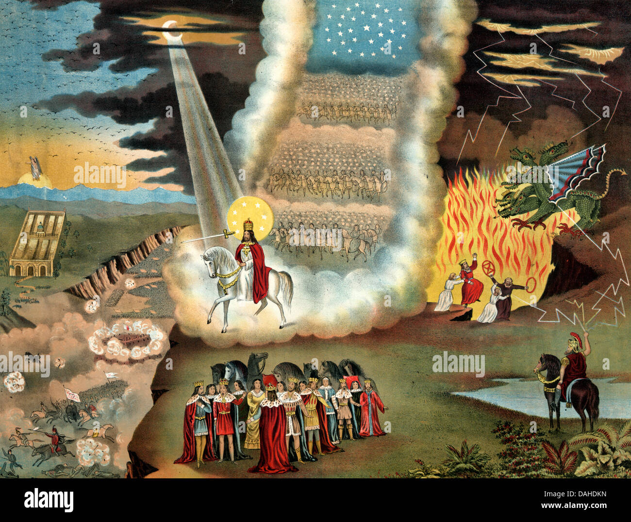 Messiah Jesus Christ On White Horse With Sword On Judgment Day
