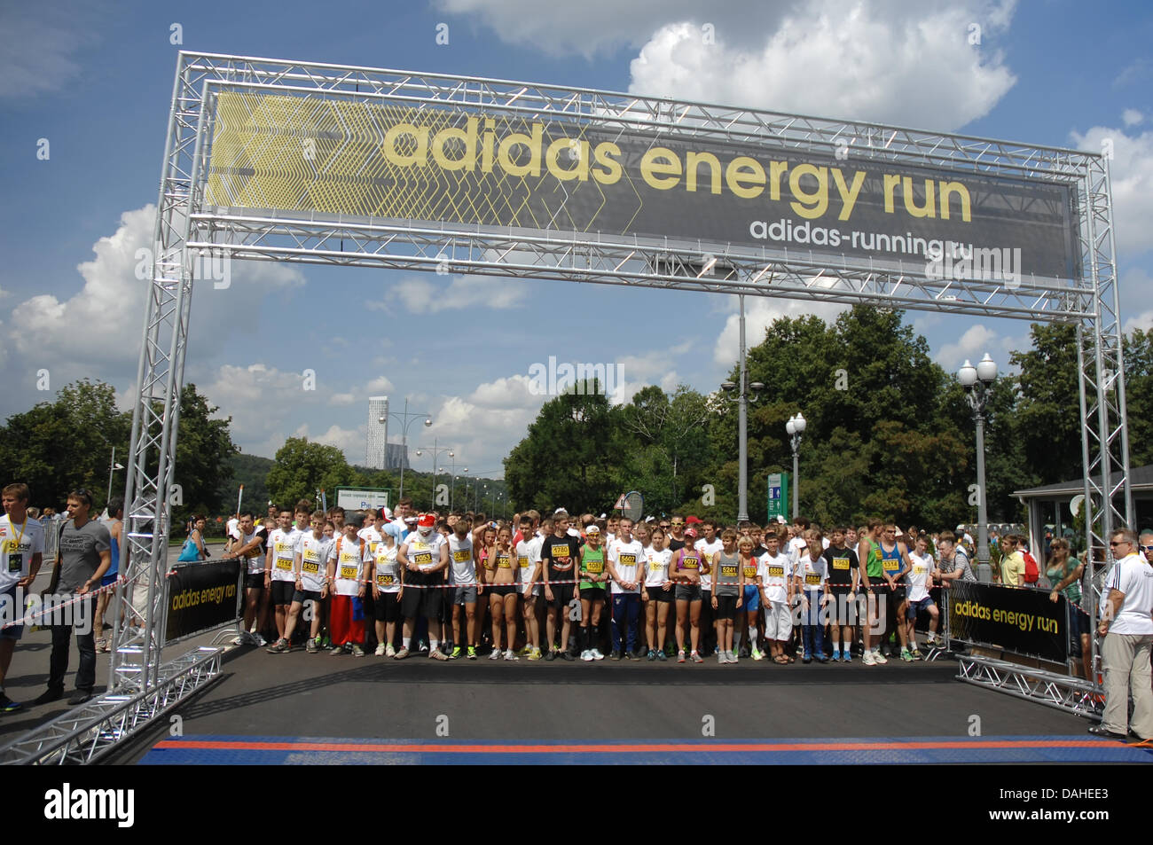 Moscow, Russia. 13th July, 2013. Unidentified sportsmen on city event Sport of Moscow passing in Luzhniki on July - Stock Image