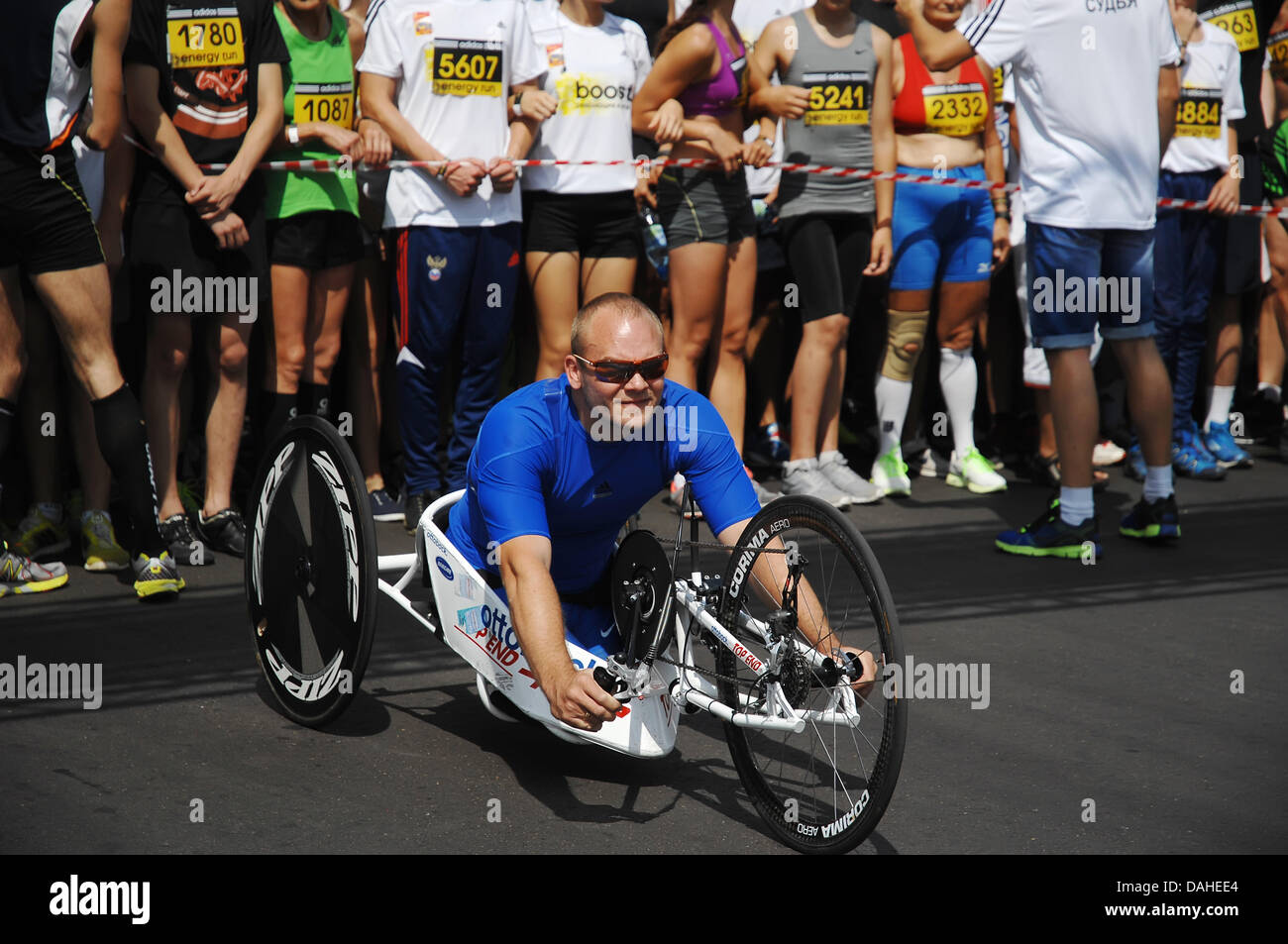 Moscow, Russia. 13th July, 2013. Unidentified paralympic sportsman on city event Sport of Moscow passing in Luzhniki - Stock Image