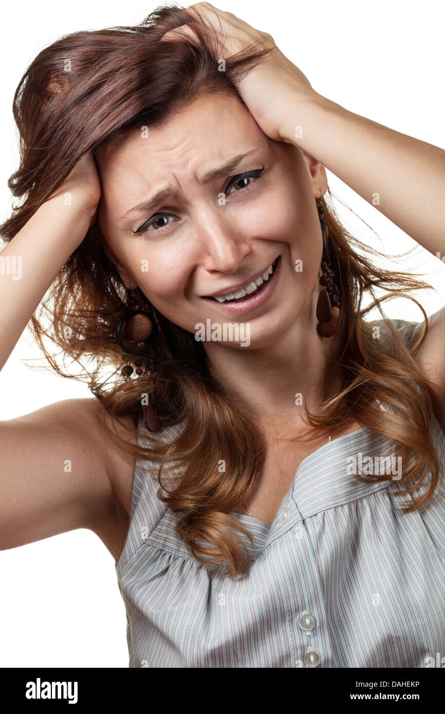 Hysterical, crying, depression. Emotions woman on a white background - Stock Image