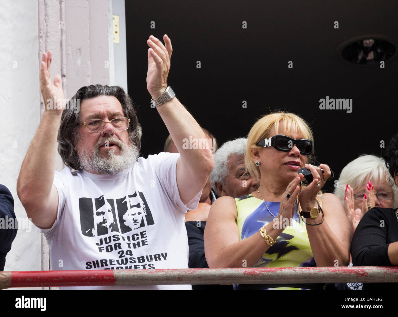 Durham, UK. 13th July 2013. Actor Ricky Tomlinson campaigning for justice for the Shrewsbury 24 at The Durham Miners - Stock Image