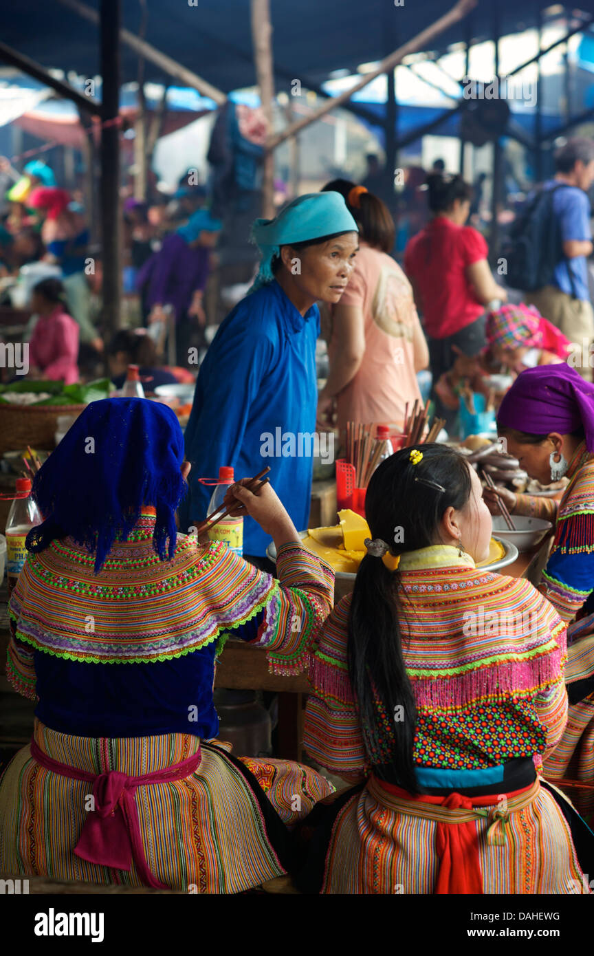Eating area of Bac Ha market. Lao Cai province, Vietnam - Stock Image