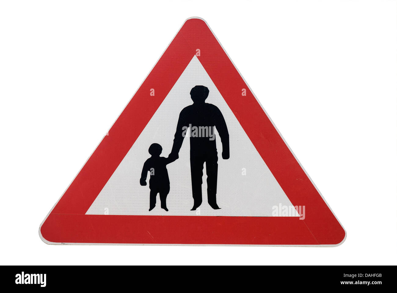 Road sign. Beware, people crossing the way - Stock Image