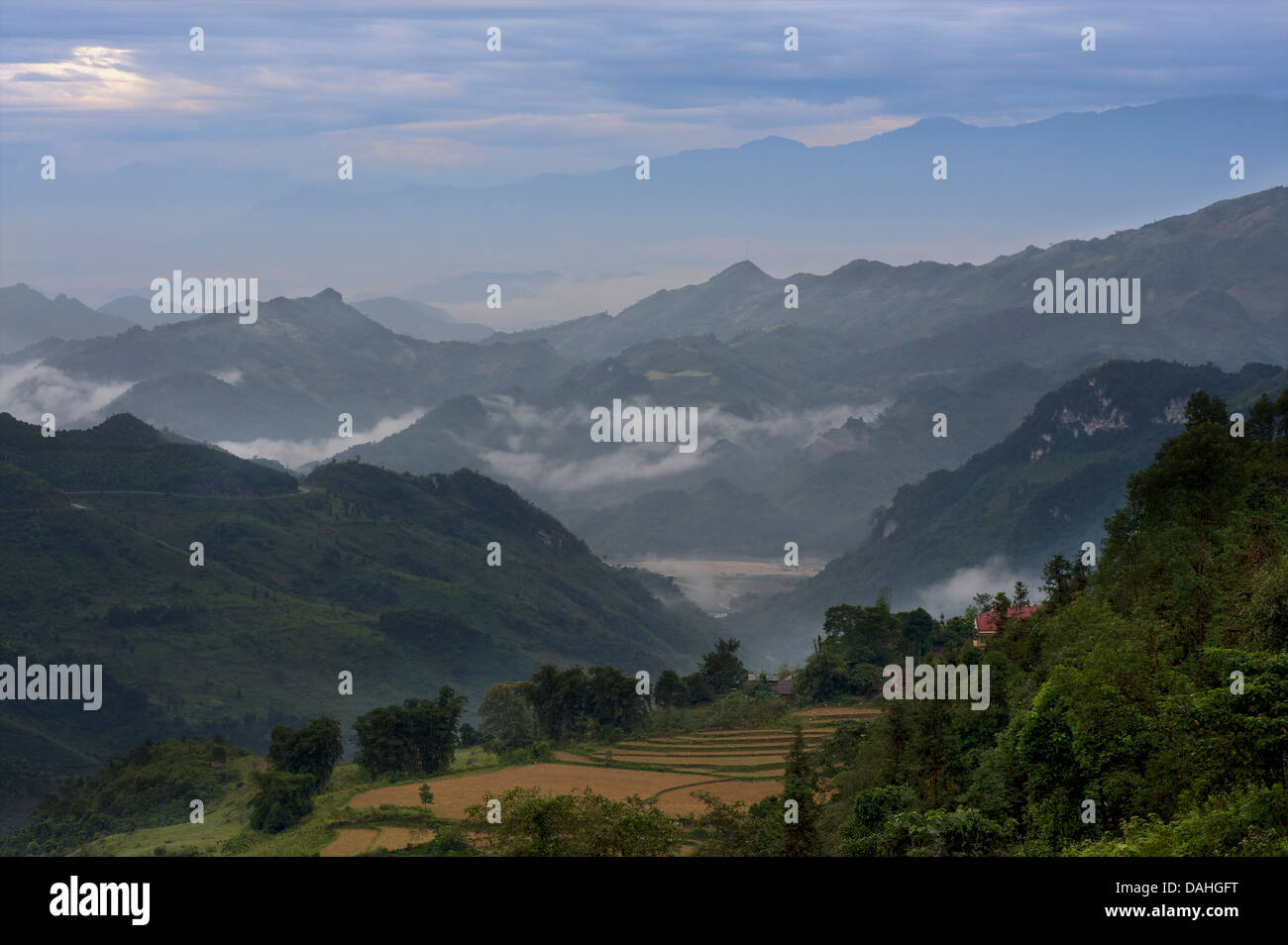 Rural scenery between hilltribe community of Bac Ha and Coc Ly. Lao Cai Province, Vietnam - Stock Image