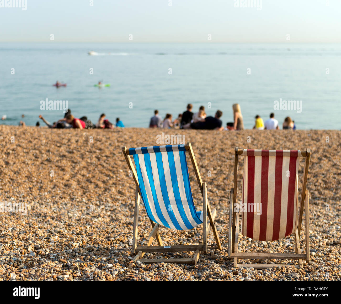 Empty deck chairs on the beach in the afternoon Summer Brighton South England Great Britain UK - Stock Image