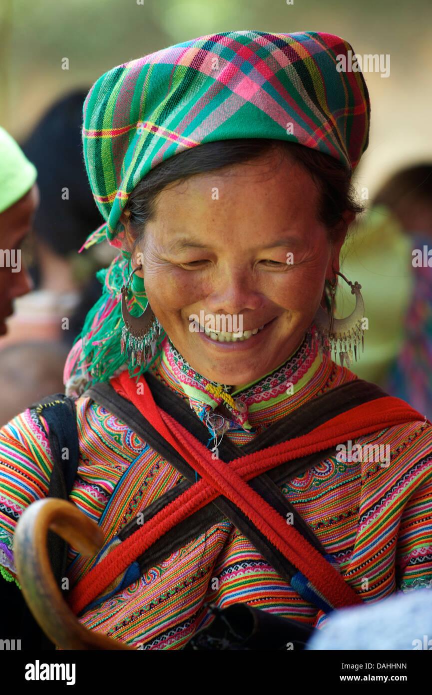 Hmong woman at Coc Ly market, near Bac Ha, Lao Cai Province, Vietnam - Stock Image