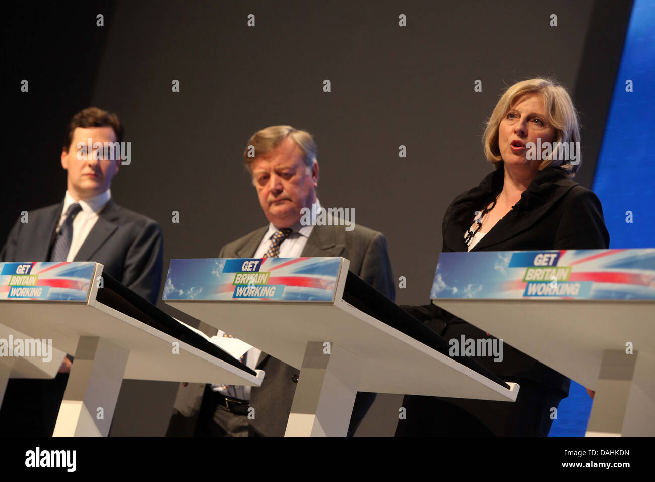 L-R George Osborne , Kenneth Clarke and Tersea May - Stock Image