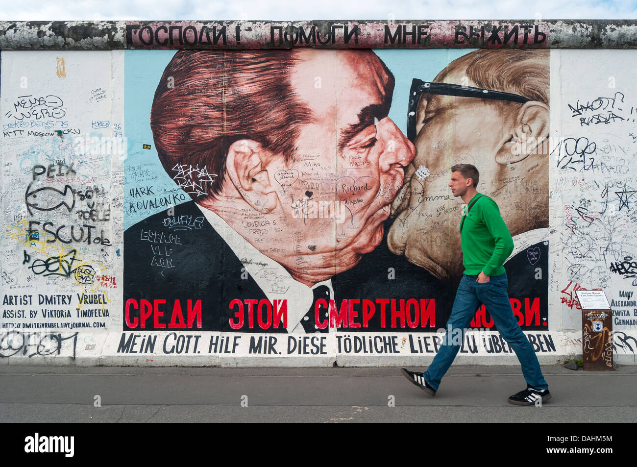Fraternal Kiss (My God, Help Me to Survive This Deadly Love)  by Dimitri Vrubel, East Side Gallery, Berlin Wall, Stock Photo