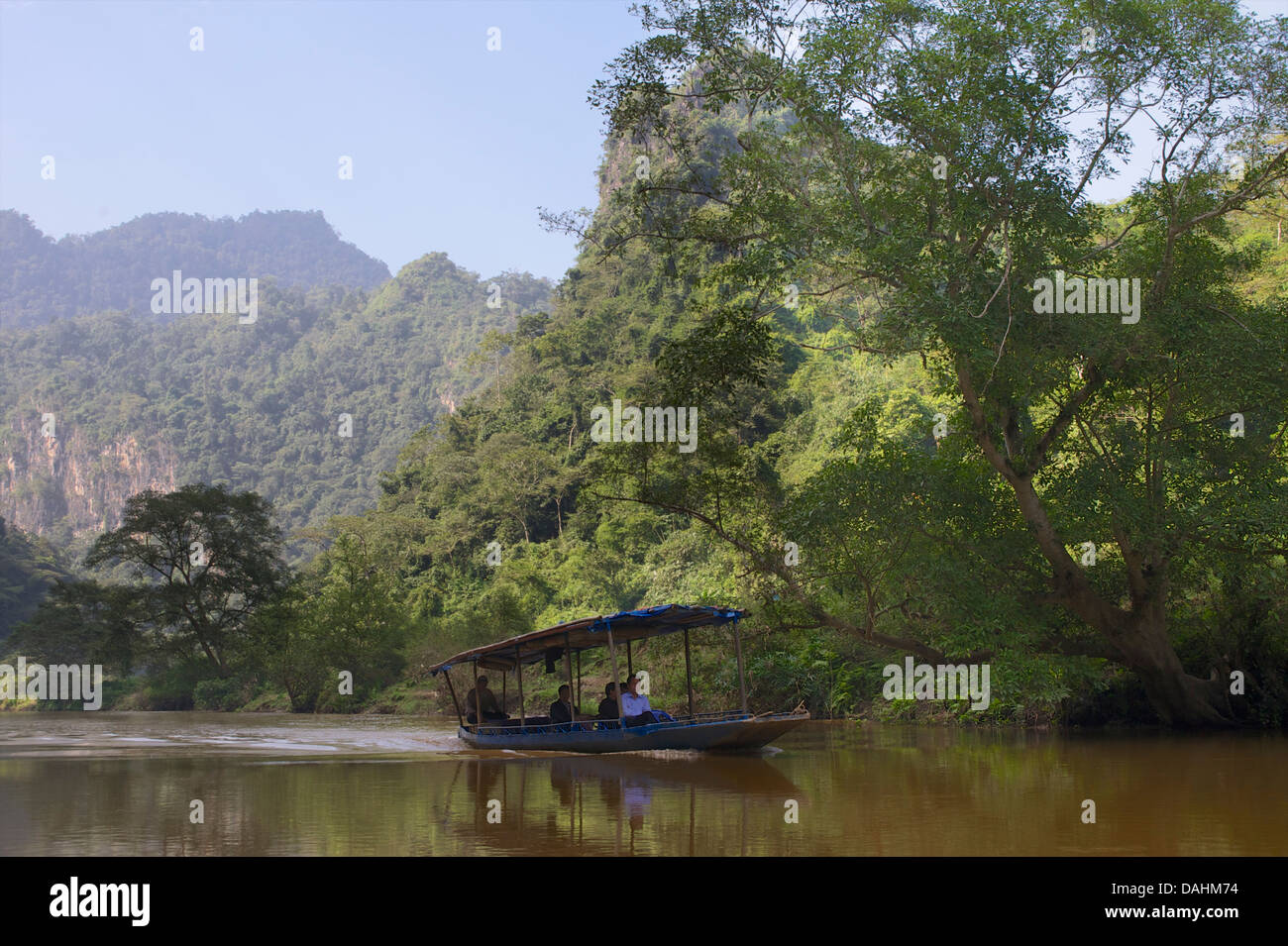 River boat on Ba Be lake,  the largest natural lake in Vietnam. Bac Kan district, Bac Kan Province. Northeast Vietnam - Stock Image