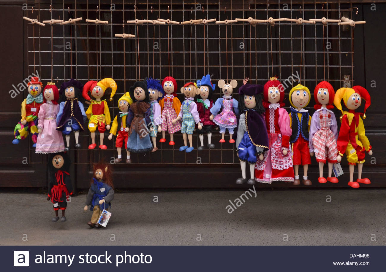Colorful puppets market stall in Prague Czech Republic Europe. - Stock Image