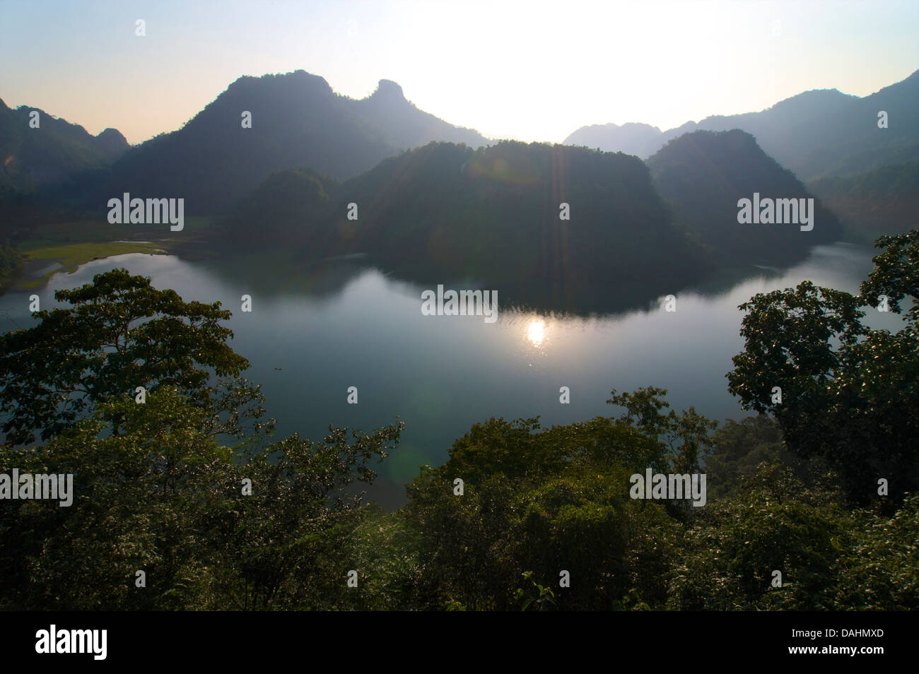Ba Be lake is the largest natural lake in Vietnam. Bac Kan district, Bac Kan Province. Northeast Vietnam - Stock Image