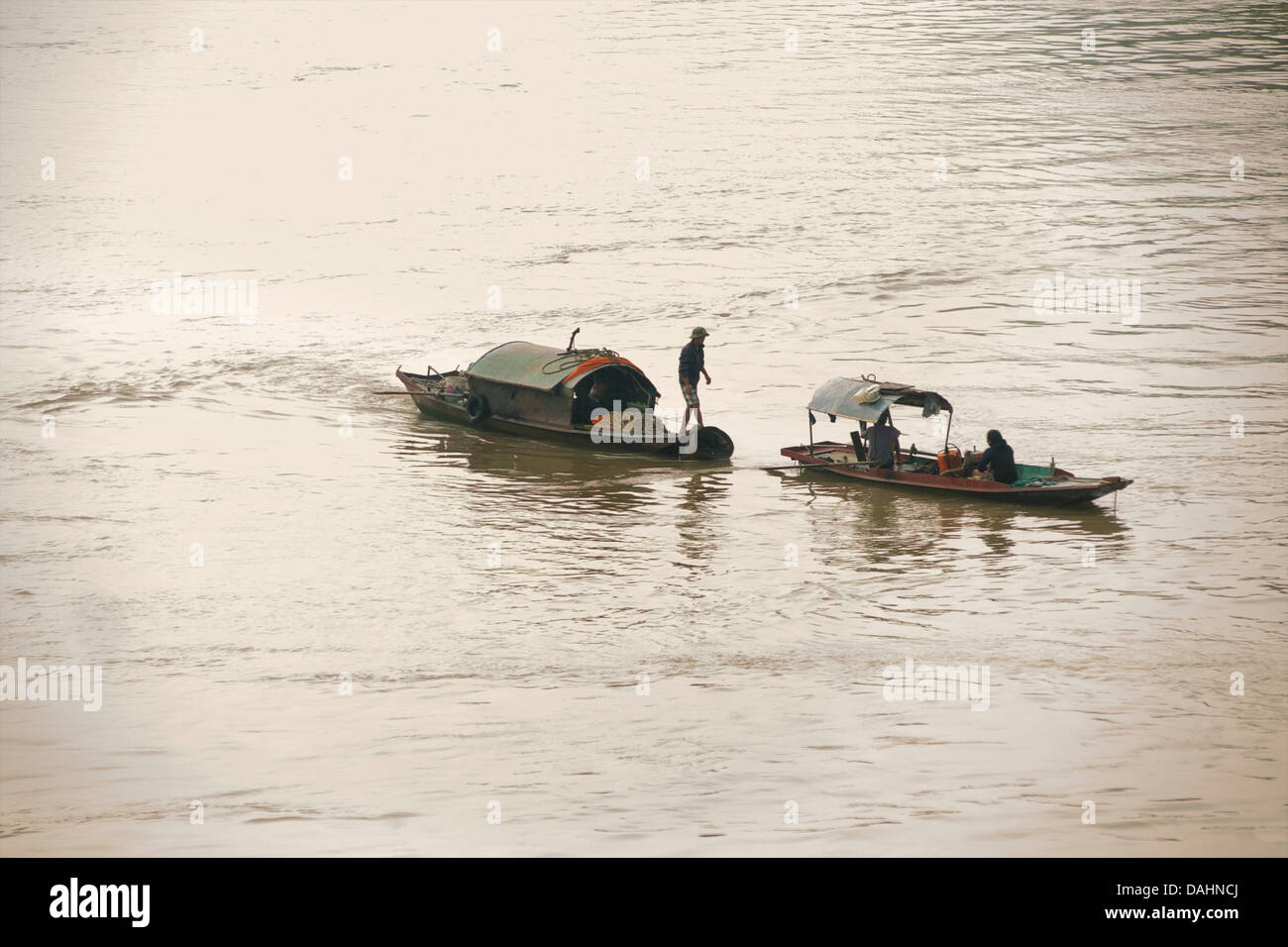 Boats on the Red River, Hanoi, Vietnam - Stock Image