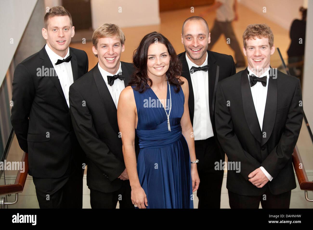 L-R Dan Sliwinski , David Carry , Keri-Anne Payne , James Goddard and Michael Rock - Stock Image