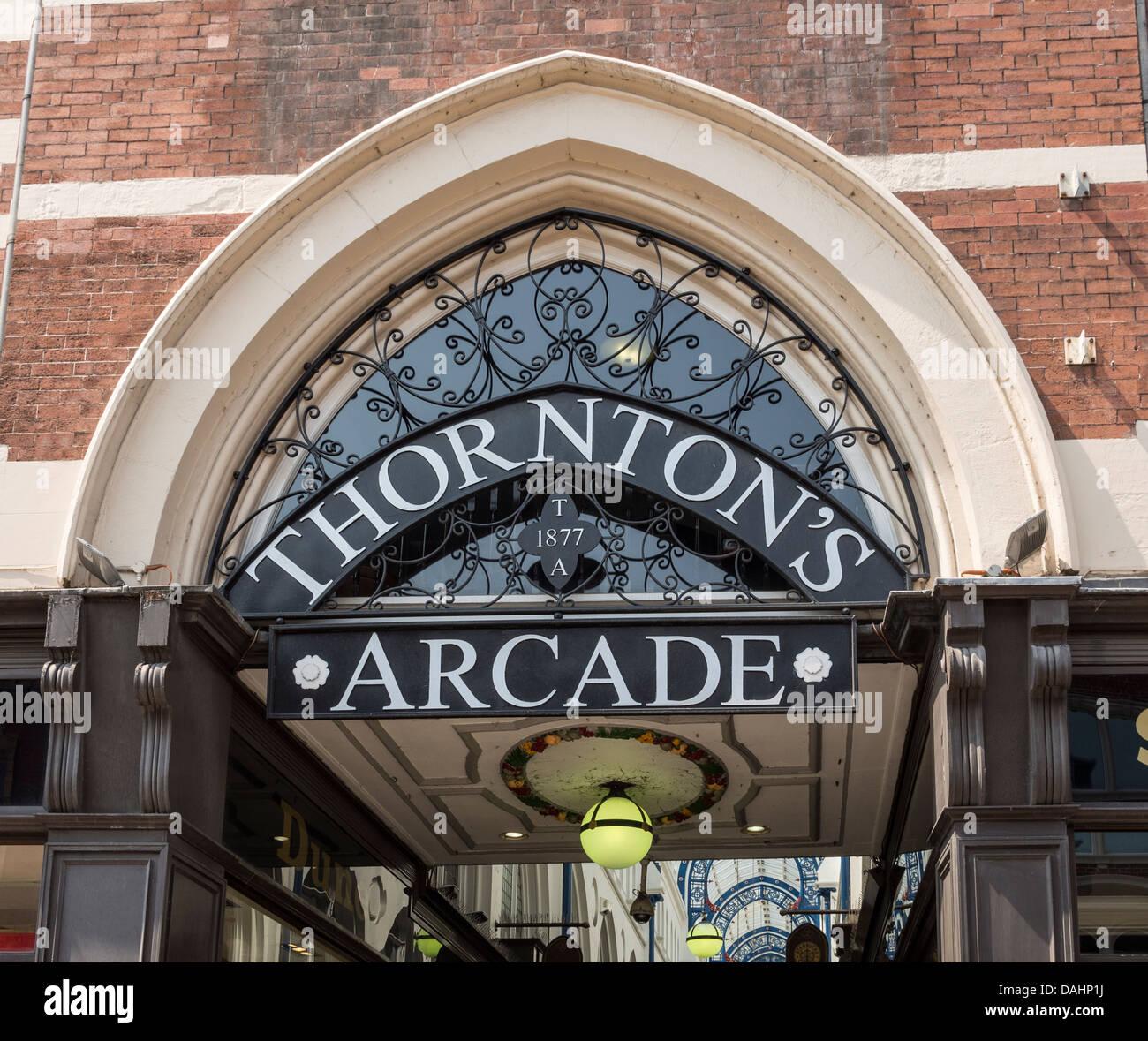 Entrance sign to Thorntons Arcade 1887 Leeds UK - Stock Image