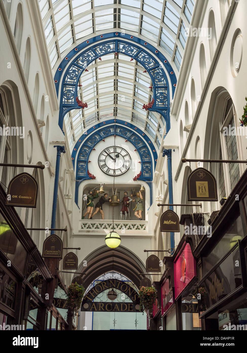 Leeds, UK. Clock in Thorntons Arcade. - Stock Image