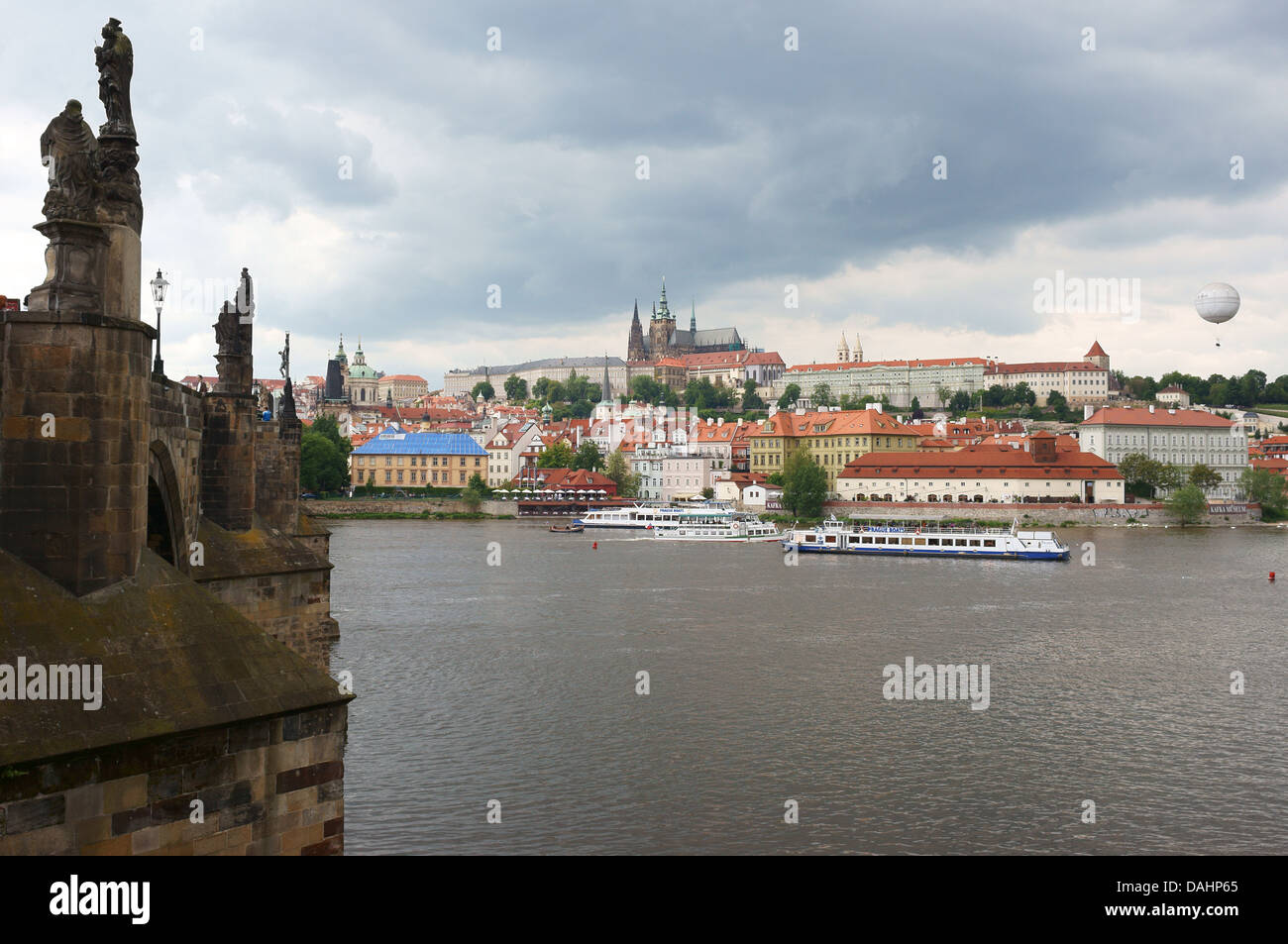 Prague View on Hradcany,Charles Bridge and Vltava River from the Old Town - Stock Image