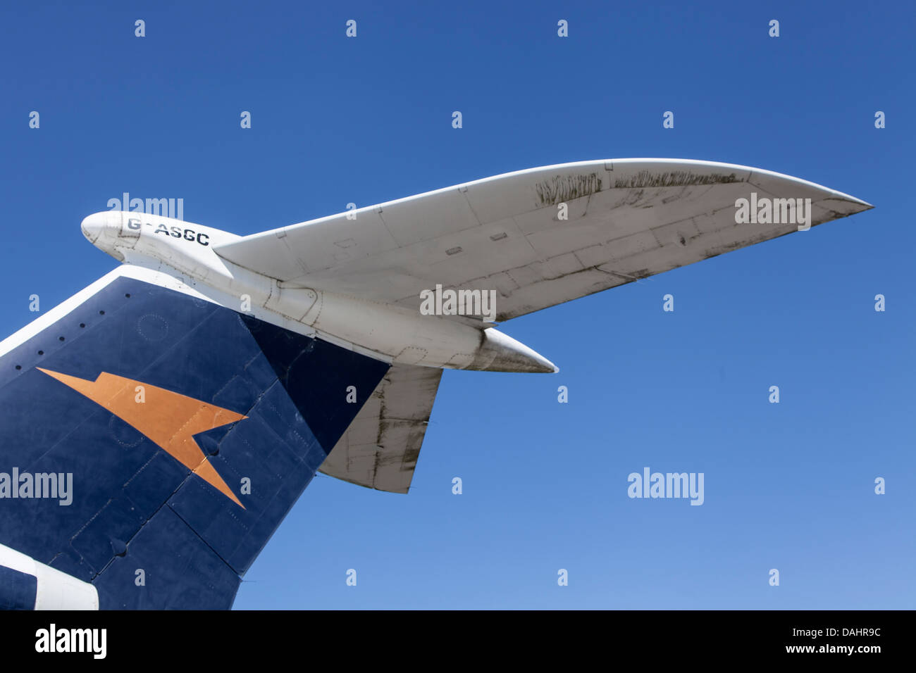 Tailplane of a VC-10 airliner formerly belonging to BOAC and showing the 'Speedbird' logo - Stock Image