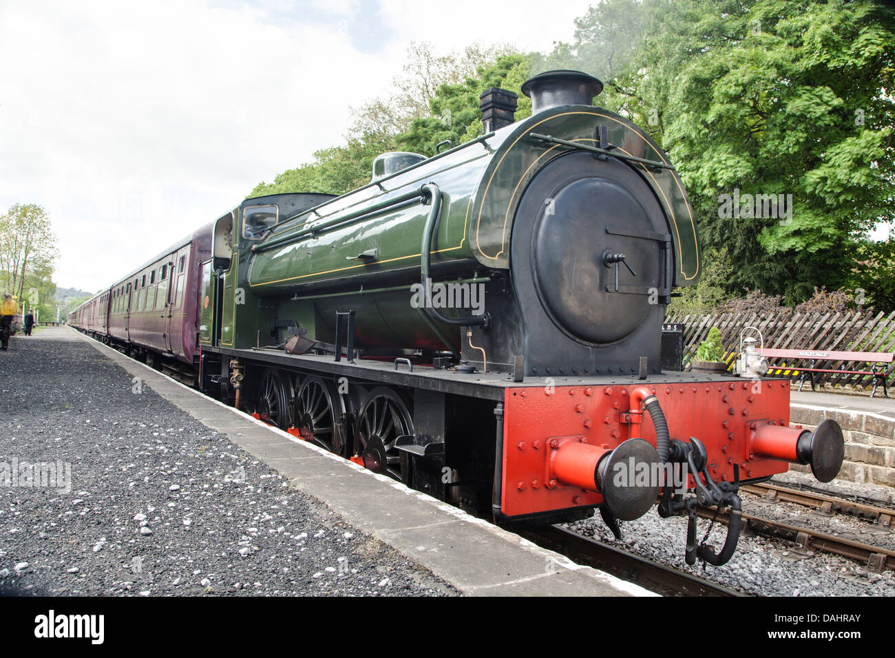 Hunslet Built 0-6-0 Saddle Tank 'Lord Phil' belonging to the Peak Rail heritage railway company. - Stock Image