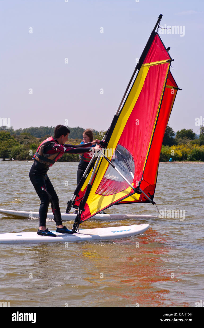 Teenagers Windsurfing UK - Stock Image