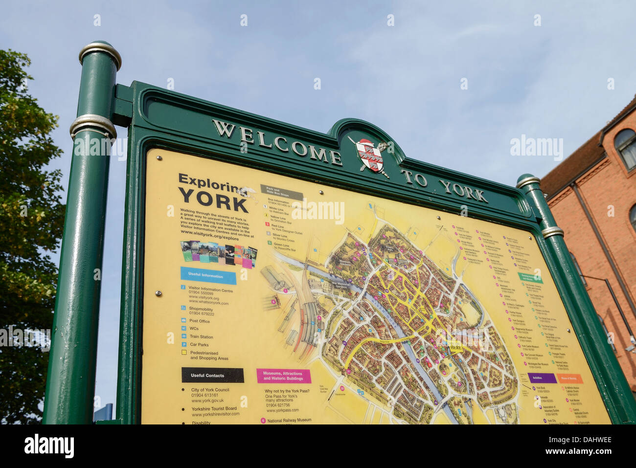 Welcome to York sign and map in York city centre UK - Stock Image