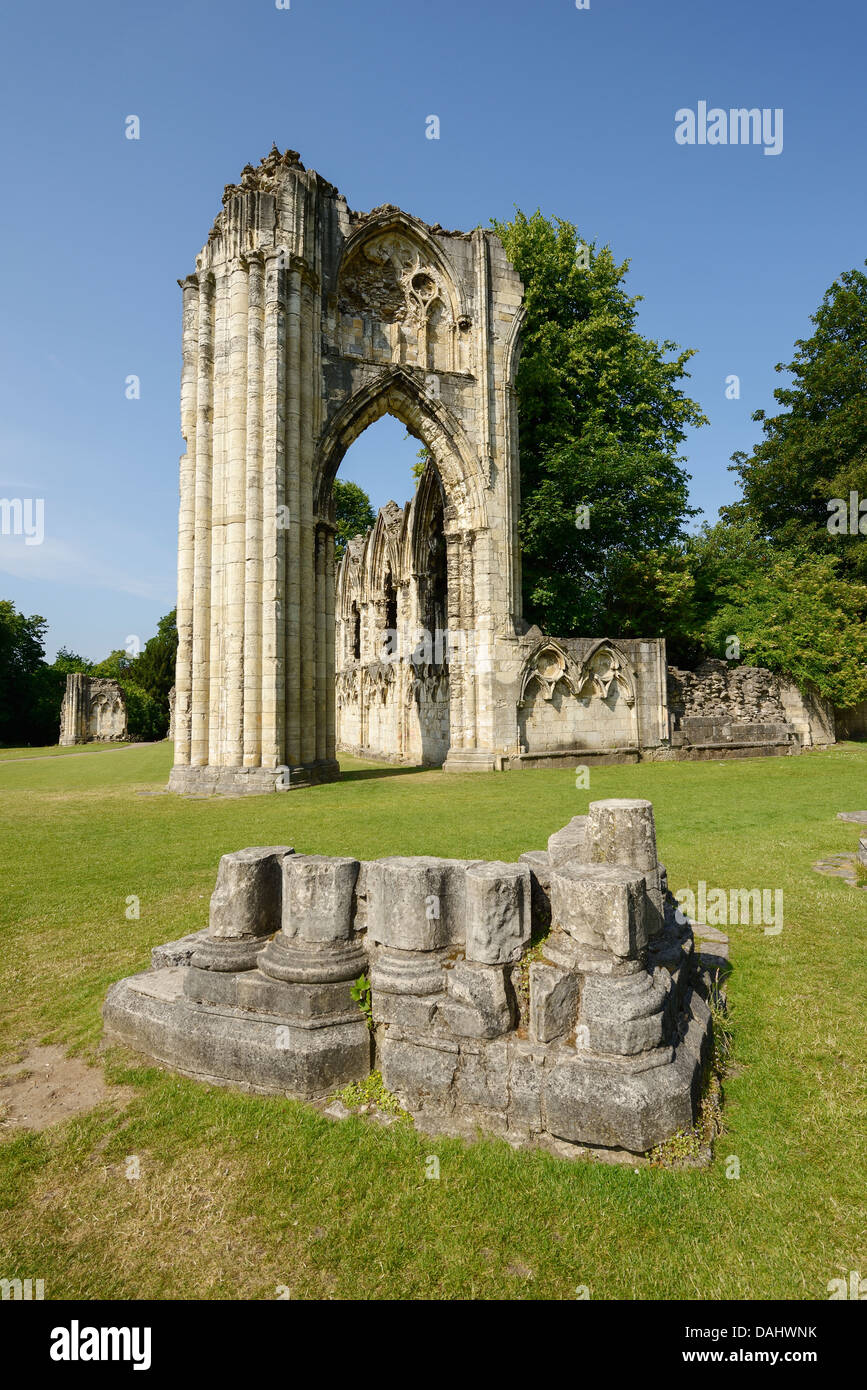 The ruins of St Marys Abbey in Museum Gardens in York city centre UK - Stock Image